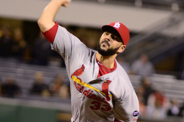 St. Louis Cardinals relief pitcher Carlos Villanueva (33) throws in the ninth inning of their 11-1 win over the Pittsburgh Pirates clinching the National League Central Division championship in game two of a doubleheader at PNC Park in Pittsburgh on September 30, 2015. Photo by Archie Carpenter/UPI