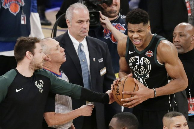 Milwaukee Bucks star Giannis Antetokounmpo had 28 points and 11 rebounds in a win against the Brooklyn Nets Monday in Brooklyn. File Photo by John Angelillo/UPI
