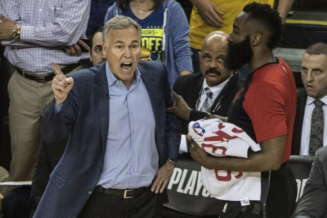 e27daf7886bc Houston Rockets guard James Harden (R) appeared to have been fouled in the  final seconds of a loss to the Golden State Warriors in Game 1 of a Western  ...