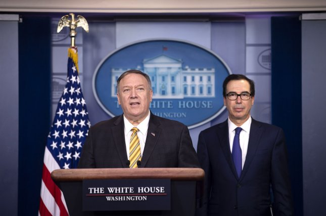 Secretary of State Mike Pompeo (L) and Treasury Secretary Steven Mnuchin brief reporters on terrorism Tuesday. Photo by Kevin Dietsch/UPI