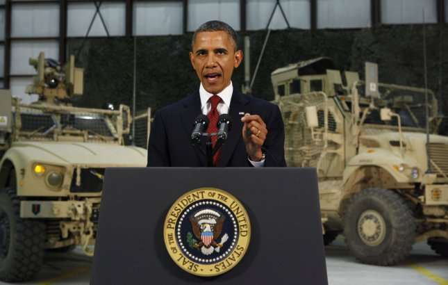 U.S. President Barack Obama delivers an address to the American people on U.S. policy and the war in Afghanistan during his visit to Bagram Air Base in Kabul, May 2, 2012. UPI/Kevin Lamarque/Pool