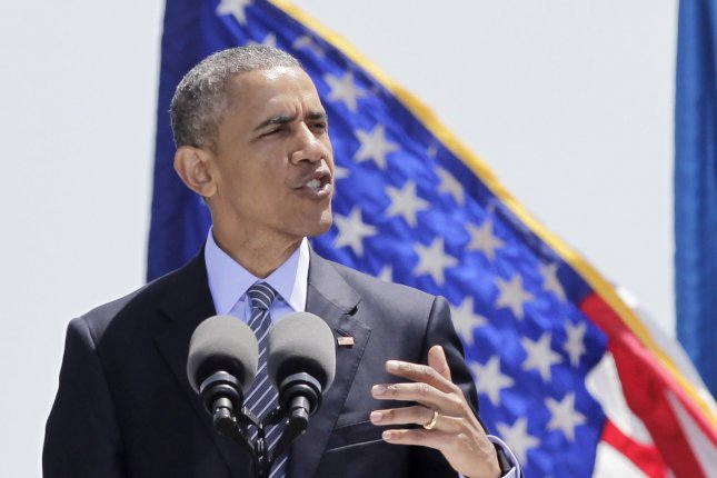 United States President Barack Obama gives the keynote address at the 134th Commencement Exercises of the U.S. Coast Guard Academy in New London CT, on May 20, 2015. Photo by John Angelillo/UPI
