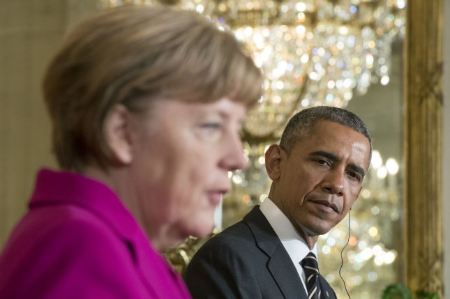 President Barack Obama (R) and German Chancellor Angela Merkel hold a joint press conference in the White House on Feb. 9, 2015. They met again Sunday, this time in Germany, to talk about trade and security issues. File photo by Kevin Dietsch/UPI