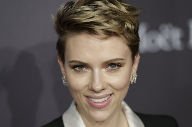 Scarlett Johansson arrives on the red carpet at the 19th annual amfAR New York Gala on February 8. Johansson stars in the first trailer for 'Ghost in the Shell. Photo by John Angelillo/UPI