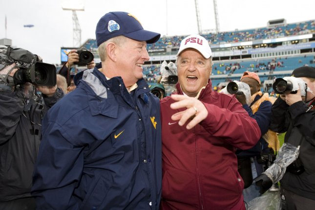 Former Florida State head coach Bobby Bowden (R) was inducted into the College Football Hall of Fame in 2006. File Photo by Mark Wallheiser/UPI