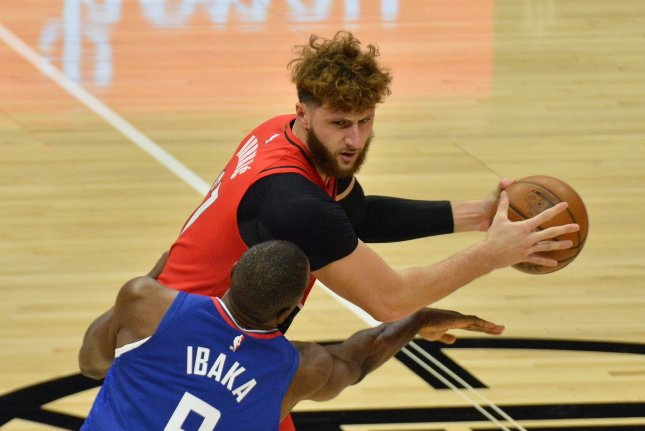 Portland Trail Blazers center Jusuf Nurkic has averaged 9.8 points and 7.7 rebounds in 12 games this season. File Photo by Jim Ruymen/UPI