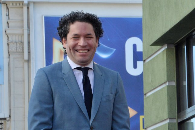 Venezuelan conductor and violinist Gustavo Adolfo Dudamel attends an unveiling ceremony honoring him with the 2,654th star on the Hollywood Walk of Fame in Los Angeles on January 22, 2019. He turns 40 on January 26. File Photo by Jim Ruymen/UPI.
