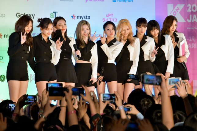 Twice celebrated after their music video for Yes or Yes reached 300 million views on YouTube. File Photo by Keizo Mori/UPI