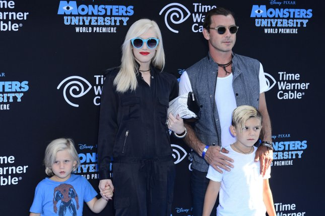 Gavin Rossdale (R) with Gwen Stefani and sons Zuma and Kingston at the Los Angeles premiere of Monsters University on June 17, 2013. File Photo by Jim Ruymen/UPI