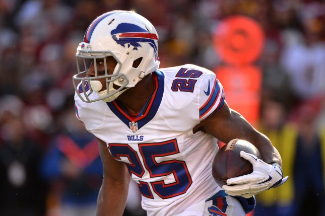 Buffalo Bills running back LeSean McCoy (25) runs against the Washington Redskins in the second quarter at FedEx Field in Landover, Maryland on December 20, 2015. File photo by Kevin Dietsch/UPI