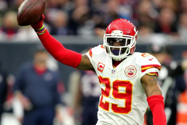 Kansas City Chiefs strong safety Eric Berry holds up the ball after an interception during a game against the Houston Texans in 2016. Photo by Erik Williams/UPI