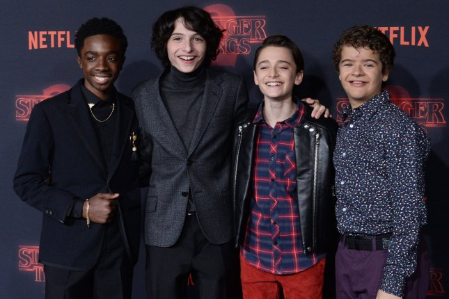 Stranger Things stars, left to right, Caleb McLaughlin, Finn Wolfhard, Noah Schnapp, and Gaten Matarazzo, appear in the first trailer for Season 3 of the series. File Photo by Jim Ruymen/UPI