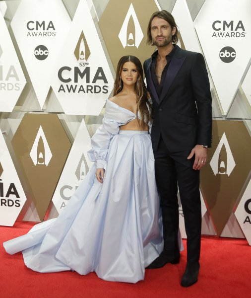 Maren Morris (L) and Ryan Hurd attend the Country Music Association Awards on Wednesday. Photo by John Angelillo/UPI