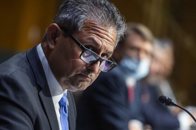 Michael Carvajal, director of the Federal Bureau of Prisons, testifies during the Senate judiciary committee hearing examining issues facing prisons and jails during the coronavirus pandemic Tuesday on Capitol Hill. Pool photo Tom Williams/UPI