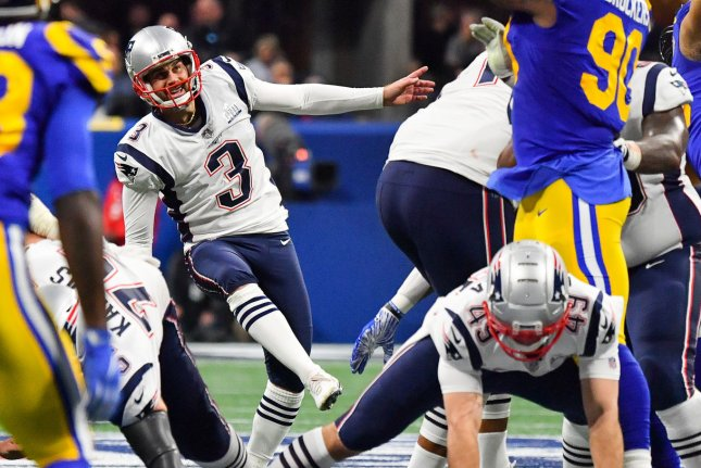 Veteran kicker Stephen Gostkowski (3) tried out for the Tennessee Titans earlier this week before he signed Thursday. File Photo by Kevin Dietsch/UPI