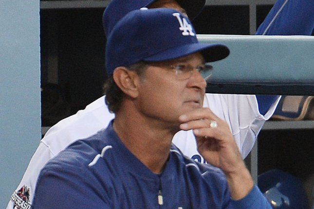 Los Angeles Dodgers manager Don Mattingly in the dugout during game 5 of the National League Division Series against the New York Mets at Dodger Stadium in Los Angeles on October 15, 2015. The Mets won 3-2. Photo by Lori Shepler/UPI
