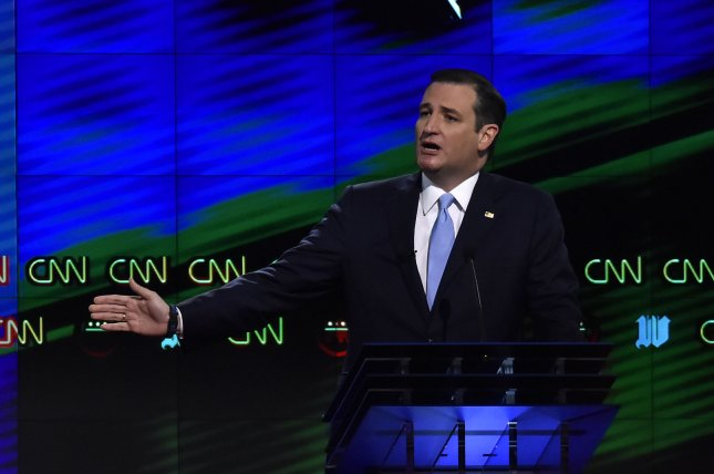 Sen. Ted Cruz answers a question on dealing with Cuba during Thursday's Republican presidential debate. Cruz picked up nine delegates in Wyoming and another in Guam on Saturday. Photo by Gary I. Rothstein/UPI
