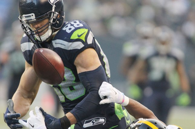 Seattle Seahawks tight end Jimmy Graham (88) continues to work closer to full strength after knee surgery. His presence could help thwart the pass rush and help Seattle improve on numbers like converting on just 4 of 13 third-down opportunities last week, including only one of greater than six yards. Photo by Jim Bryant/UPI