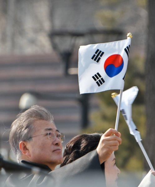 South Korean President Moon Jae-in waves during a parade after ceremony of the 99th anniversary of the March First Independence Movement against under Japanese rule at Seodaemun Prison History Hall in Seoul, South Korea, on March 1, 2018. Photo by Keizo Mori/UPI