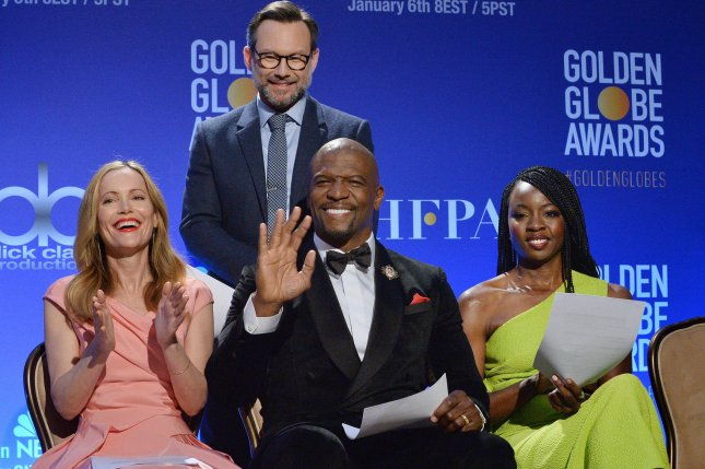 Actors, left to right, front row, Leslie Mann, Terry Crews and Danai Gurira, back row, Christian Slater, announced the nominees for the 76th annual Golden Globe Awards at the Beverly Hilton Hotel in Beverly Hills Thursday. Photo by Jim Ruymen/UPI