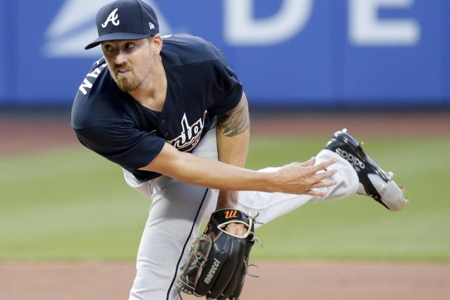 Atlanta Braves starting pitcher Kevin Gausman throws a pitch in the first inning against the New York Mets on August 4 at Citi Field in New York City. Photo by John Angelillo/UPI