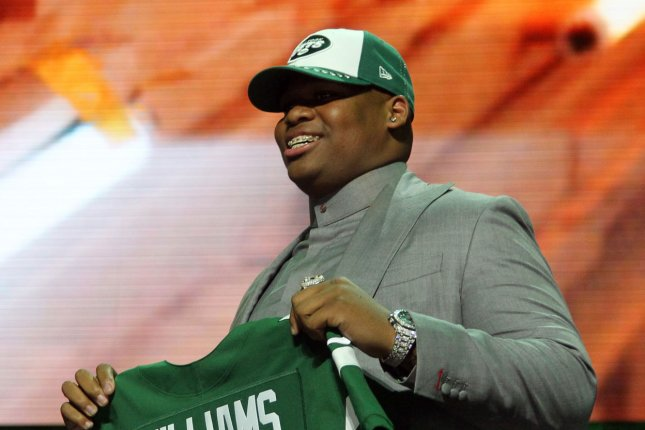 New York Jets defensive lineman Quinnen Williams will receive 75 percent of his signing bonus up front, while the other 25 percent of it will be paid in his second season. File Photo by John Sommers II/UPI