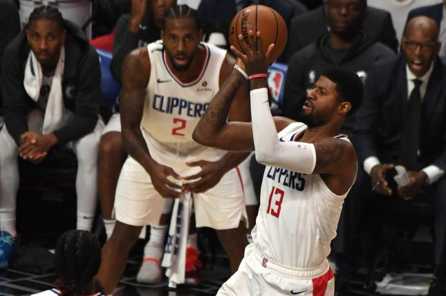 Los Angeles Clippers forward Paul George is averaging 23.5 points, six rebounds and 3.7 assists per game this season. Photo by Jon SooHoo/UPI