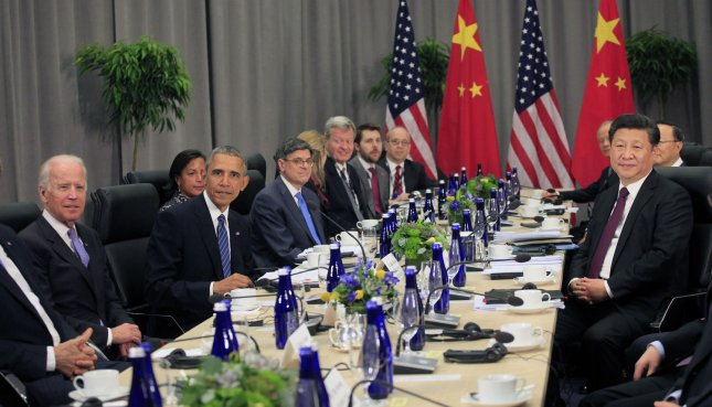 U.S. President Barack Obama holds a bilateral meeting with President Xi Jinping of China during the Nuclear Security Summit in Washington, D.C., on Thursday. Xi told Obama and South Korea's Park Geun-hye that China is committed to the denuclearization of the Korean peninsula. Pool Photo by Dennis Brack/UPI