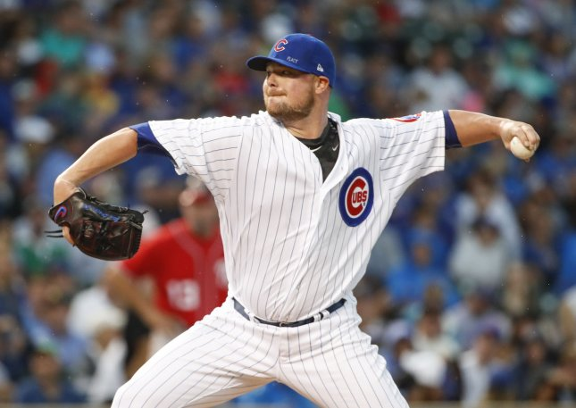 Chicago Cubs pitcher Jon Lester delivers against the Washington Nationals during their game last week. Photo by Kamil Krzaczynski/UPI