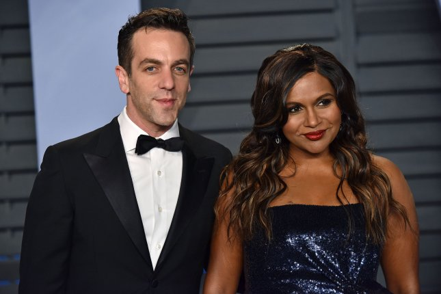 Mindy Kaling (R), pictured with B.J. Novak, said the actor sent her the prettiest bouquet. File Photo by Christine Chew/UPI