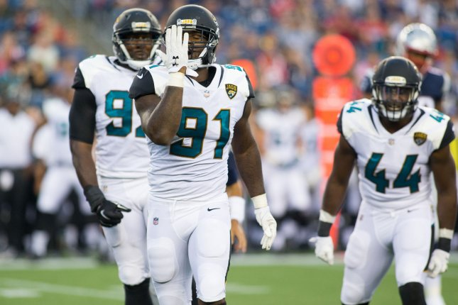 Jacksonville Jaguars defensive end Yannick Ngakoue (91) will make $19.3 million in 2020 while playing under the franchise tag. File Photo by Matthew Healey/ UPI