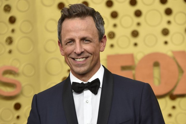 Late Night with Seth Meyers will air on NBC this week with guests Bernie Sanders, Elizabeth Warren, Woody Harrelson, Kiernan Culkin and Bobby Flay. File Photo by Christine Chew/UPI