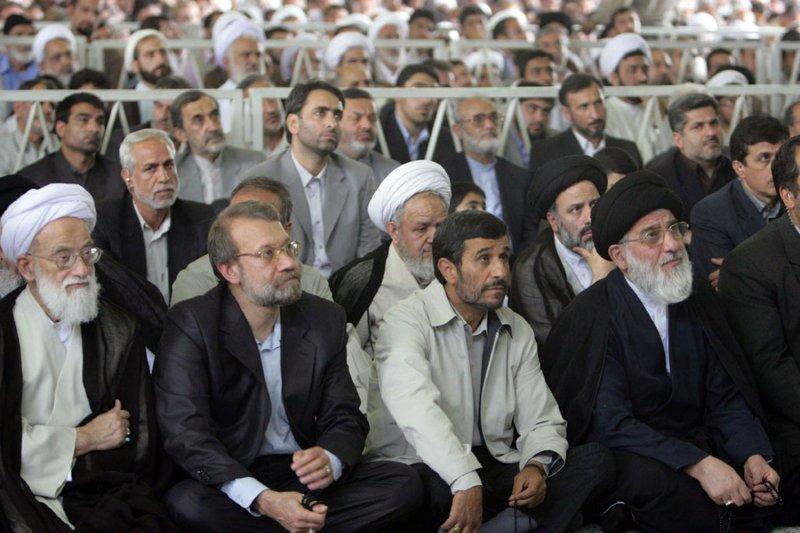 (L-R) Top Iranian cleric Mohammad Emami Kashani ,Iran's parliament speaker Ali Larijani, Iran's President Mahmoud Ahmadinejad, and Judiciary Chief Mahmoud Hashemi Shahroudi listen to Iran's Supreme Leader Ayatollah Ali Khamenei (not seen) during Friday Prayer n Tehran, Iran on June 19, 2009. (UPI Photo/Kamenei Office/HO)