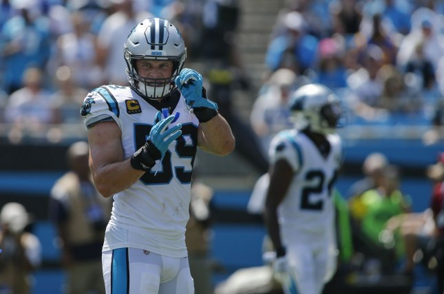Carolina Panthers middle linebacker Luke Kuechly played eight seasons in the NFL and was a seven-time Pro Bowl choice. File Photo by Nell Redmond/UPI
