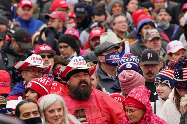 Supporters of President Donald Trump rally ahead of Congress' upcoming Electoral College vote certification in Washington, D.C., on Tuesday. Photo by Kevin Dietsch/UPI