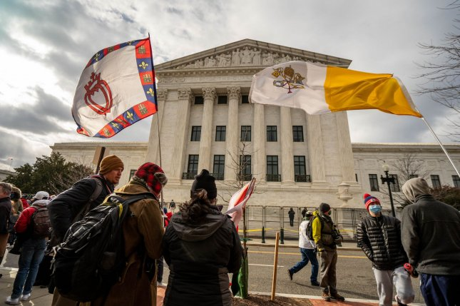 Anti-abortion activists gather at the U.S. Supreme Court building in Washington, D.C., on January 29. The demonstrators rallied on the 48th anniversary of the court's 1973 Roe vs. Wade ruling that legalized abortion in all 50 states. File Photo by Ken Cedeno/UPI