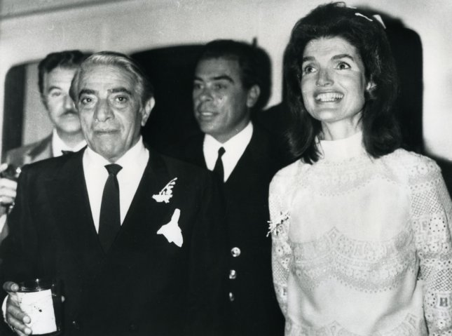 Jacqueline Kennedy and Aristotle Onassis are seen on a yacht folllowing their wedding in Skorpios, Greece on October 20, 1968. UPI