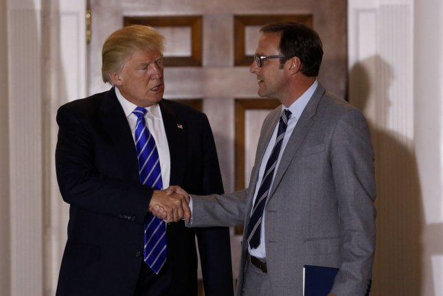 Chicago Cubs co-owner Todd Ricketts leaves the Trump International Golf Club in Bedminster, New Jersey, on Nov. 20 after meeting with President-elect Donald Trump. Rickett was named by Trump Wednesday as his deputy commerce secretary. Pool Photo by Peter Foley/UPI