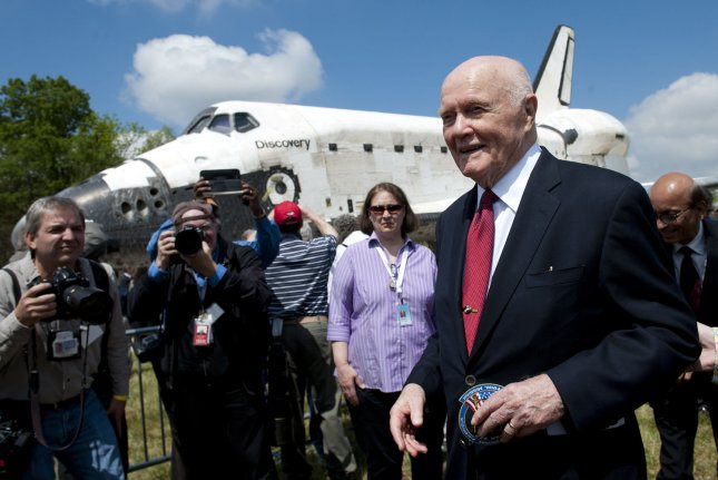 Former U.S. Senator and astronaut John Glenn attends a transfer ceremony for Shuttle Discovery at the Smithsonian's National Air and Space Museum's Udvar-Hazy Center in Chantilly, Va. on April 19, 2012. File Photo by Kevin Dietsch/UPI