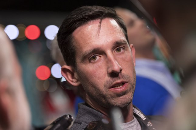 Atlanta Falcons offensive coordinator Kyle Shanahan speaks to the media during Super Bowl LI Opening Night, at Minute Maid Park in Houston, Texas on January 30, 2017. The Atlanta Falcons will play the New England Patriots in Super Bowl LI on Sunday in Houston. Photo by Kevin Dietsch/UPI