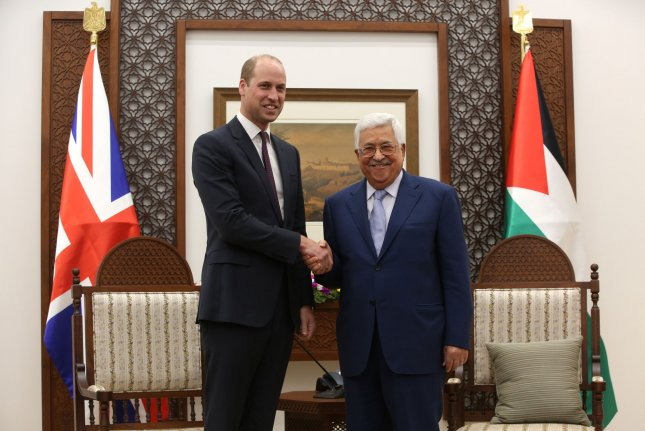 Britain's Prince William and Palestinian President Mahmoud Abbas meet Wednesday in the West Bank city of Ramallah. Photo by Alaa Badarneh/UPI