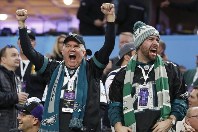Philadelphia Eagles fans cheer on their team before the Super Bowl LII at U.S. Bank Stadium in Minneapolis, Minnesota on February 4, 2018. Photo by Kamil Krzaczynski/UPI