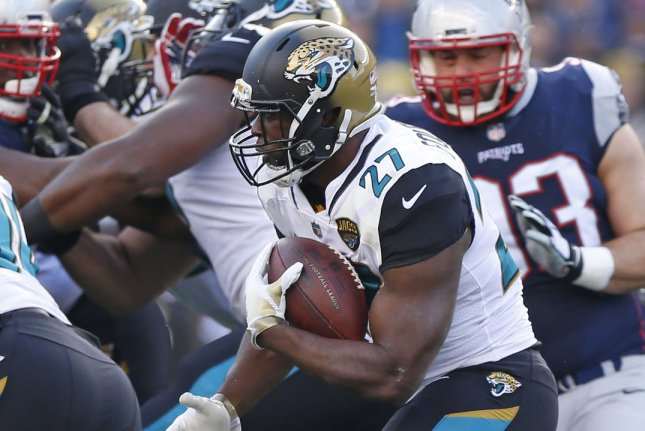 Jacksonville Jaguars running back Leonard Fournette looks for room to maneuver during last year's AFC Championship game against the New England Patriot at Gillette Stadium in Foxborough, Massachusetts on January 21, 2018. Photo by Matthew Healey/ UPI