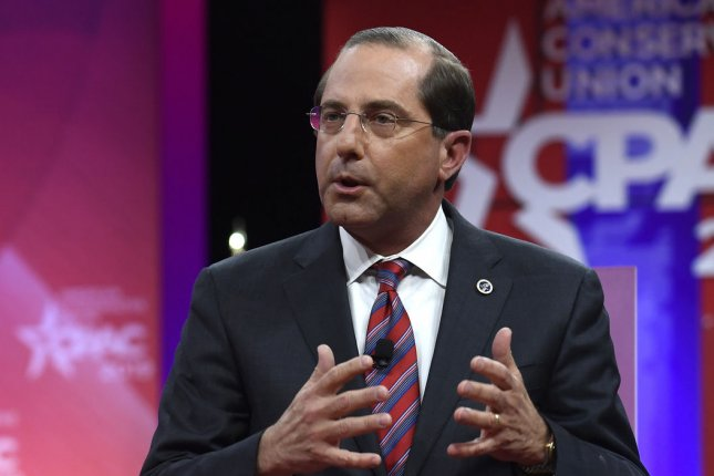 Health and Human Services (HHS) Secretary Alex Azar, speaking here at the Conservative Political Action Conference in February, announced Wednesday a new rule that will force drug makers to reveal the prices of drugs in TV ads. Photo by Mike Theiler/UPI