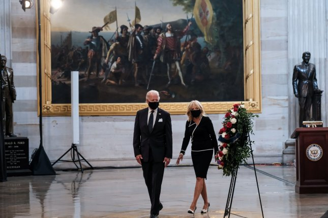 Former Vice President and Democratic presidential candidate Joe Biden and wife Jill Biden honor the late Rep. John Lewis on July 27 in the Rotunda of the U.S. Capitol in Washington, D.C. Photo by Michael A. McCoy/UPI/Pool