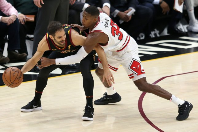 Former Chicago Bulls guard Kris Dunn (R) signed with the Atlanta Hawks as a free agent in November. He has yet to play for his new team. File Photo by Aaron Josefczyk/UPI