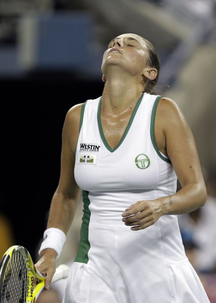 Roberta Vinci of Italy reacts after losing a point to Venus Williams of the USA in the first round of the U.S. Open Tennis Championships in Arthur Ashe Stadium in New York City on August 30, 2010. UPI/John Angelillo