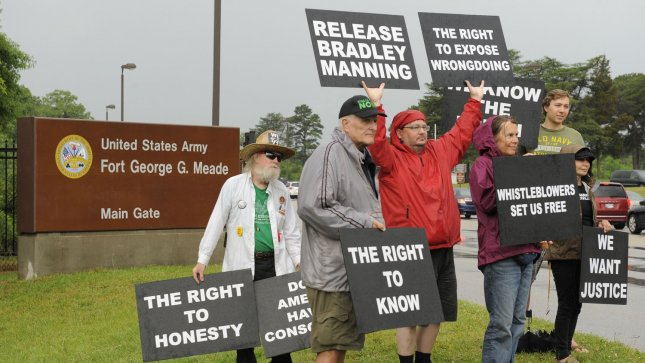 Protestors from various organizations gather to protest the start of the court martial of US Army PFC Bradley Manning, outside the front gate of Fort Meade, Maryland, June 3, 2013. Manning is accused of disclosing thousands of military secrets in the Wiki-Leaks case. UPI/Mike Theiler