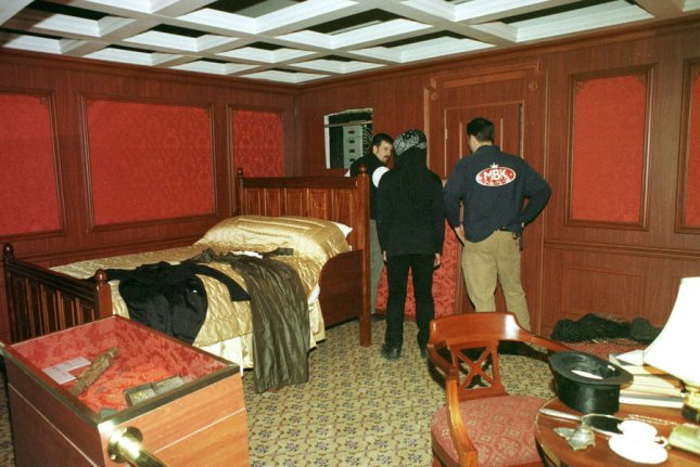 Museum of Science and Industry workers in Chicago put the finishing touches on a replica of the first class cabin of the Titanic in 2000. The traveling Titanic exhibit remains the largest collection of Titanic artifacts ever assembled. (File/Ray Foli/UPI)