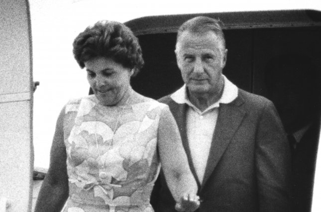 Vice President Agnew and his wife return from a long weekend in California on Aug. 13, 1973. He continues to face allegations of being involved with a kick-back scheme while governor of Maryland. File Photo by UPI